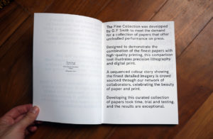 GFSmith The Fine Collection inner page intro